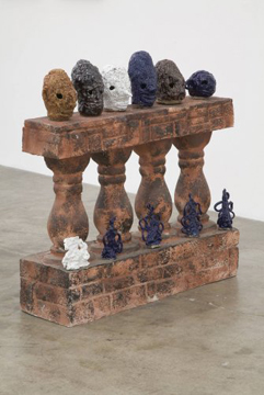 """""""Endromides Diadem MCMXII"""", installation view, Glazed ceramic and found pedestal, 2007.  Courtesty Shane Campbell Gallery."""