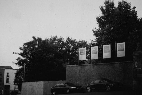 The hoarding climbed in hoarding walk beside the Irish Museum of Modern Art.