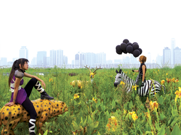 """Cao Fei. """"A Mirage (COSPlayers Series),"""" 2004. Digital c-print, 29 1/4 x 39 1/4 inches. © Cao Fei, courtesy the artist and Lombard-Freid Projects, New York."""