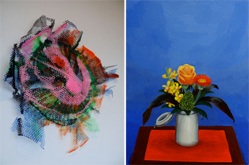 "Left: Ben Godward ""Untitled"" (a wall sculpture), (2009); Right: Amy Lincoln ""Bouquet,"" (2009)"