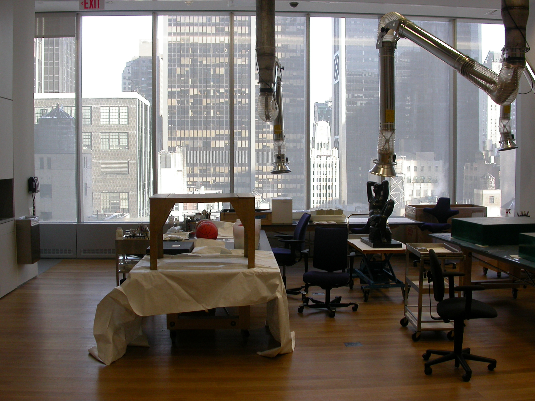 Looking out the windows of MoMA's Conservation Studio