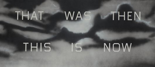 """Ed Ruscha, That Was Then This Is Now , 1989, Oil on canvas, 42"""" x 96"""""""