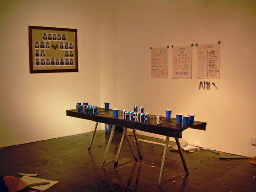 """Jeffrey Augustine Songco, """"Beer Pong,"""" live performance. Courtesy the artist."""