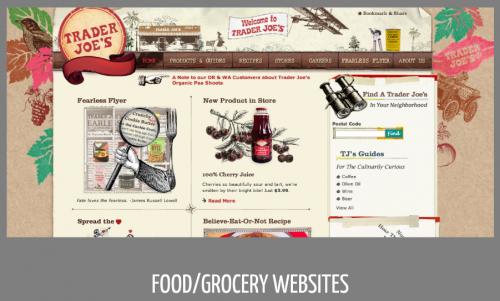 Signifiers of print evident in food/grocery websites like Trader Joe's (ink stamping, brown paper, letterpress type elements, wood grain, etc.)