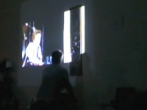 """Seth Kim-Cohen, """"The bee in bathos equals the pee in pathos (except at the bathhouse)"""" performance still, January 2013."""