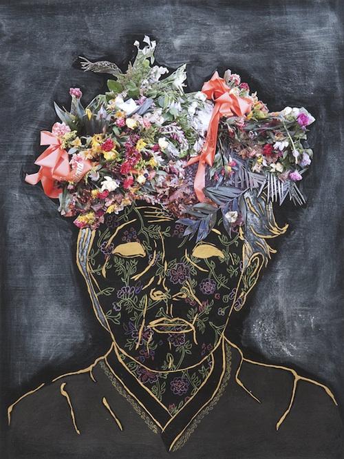 "Dissolving Ritual, 2012Acrylic, ink, graphite, photo cutout, gold leaf16.5"" x 12.5"""