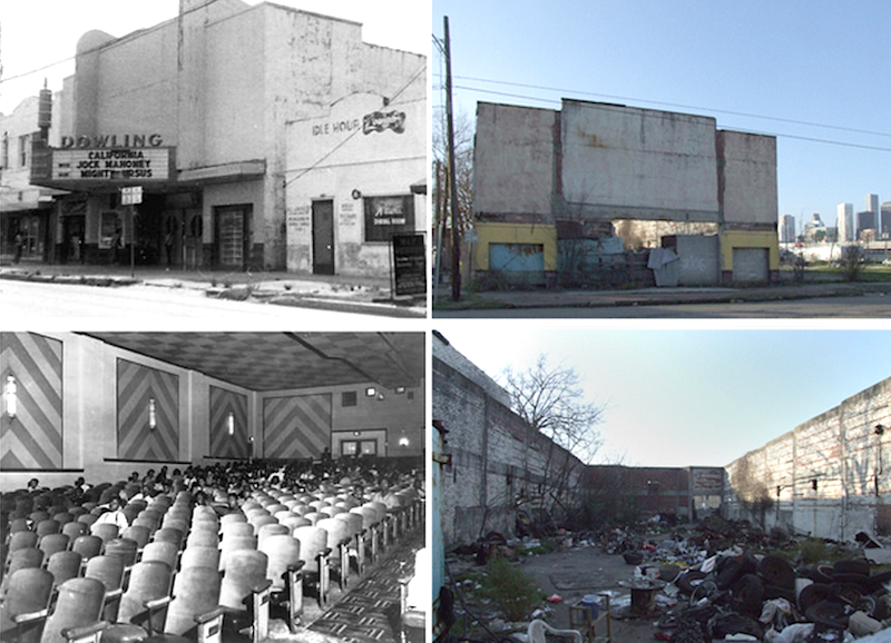 Left: Dowling Theatre exterior, 1963. Courtesy of Ray M. Boriski. Bottom left: Dowling Theatre auditorium, c. 1960. Courtesy of Houston Metropolitan Research Center, Houston Public Library, MSS 210 Top and bottom right: The Dowling Theatre, c. 2007. Courtesy arch-ive.org