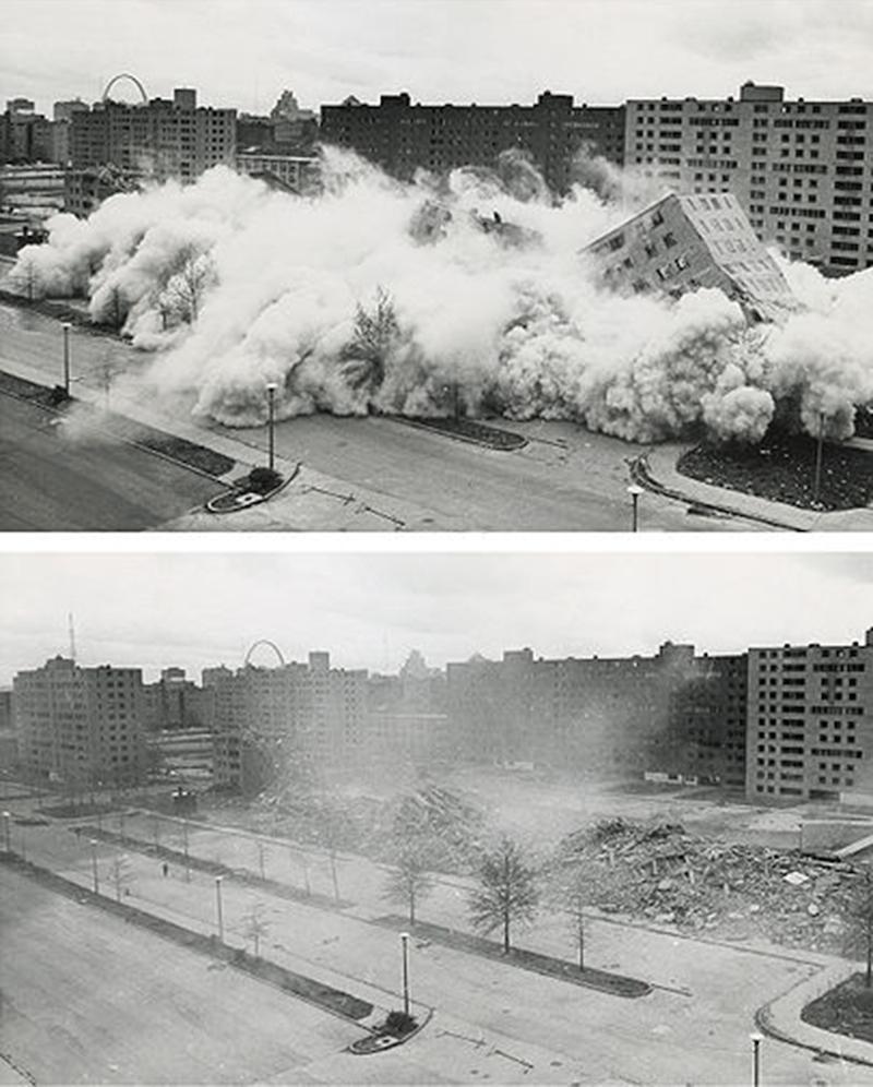 Demolition of the Pruitt-Igoe housing complex in St. Louis, Missouri, 1972. Photo: US Department of Housing and Urban Development
