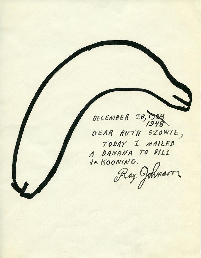 """Ray Johnson. """"Today I mailed a banana to Bill de Kooning,"""" 2013. Courtesy Ray Johnson Estate Tumblr. © Ray Johnson"""