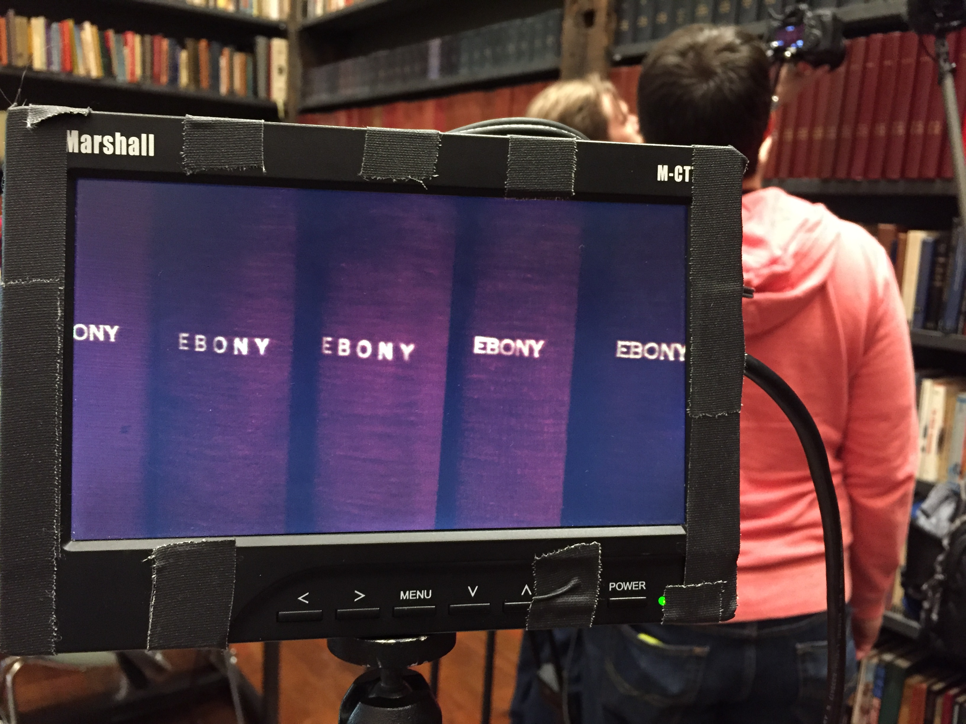 ART21 filming at Theaster Gates's Stony Island Arts Bank in Chicago, USA, 2016. Behind the scenes of ART21's series Art in the Twenty-First Century, Season 8, 2016. Photo: Brian Ashby. © ART21, Inc. 2016.