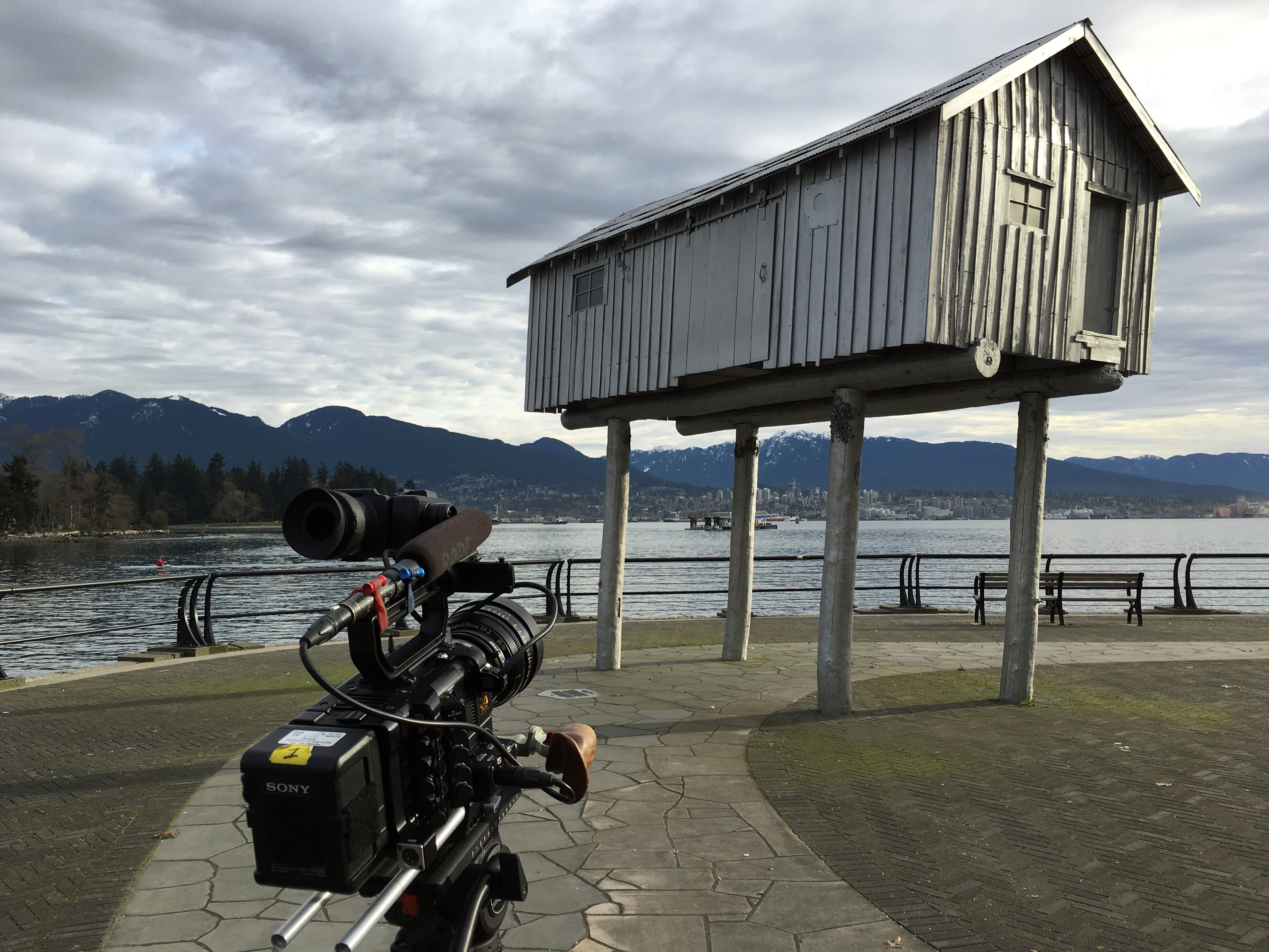 ART21 filming Liz Magor's LightShed at Coal Harbour in Vancouver, Canada, 2016. Behind the scenes of ART21's series Art in the Twenty-First Century, Season 8, 2016. Photo: Wesley Miller. © ART21, Inc. 2016.