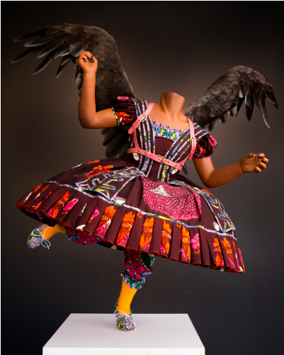 Yinka Shonibare. Food Fairy, 2006. Manikin, Dutch wax printed cotton, leather, artificial fruit, fiberglass, and goose feathers. Courtesy of the artist and Cooper Gallery.