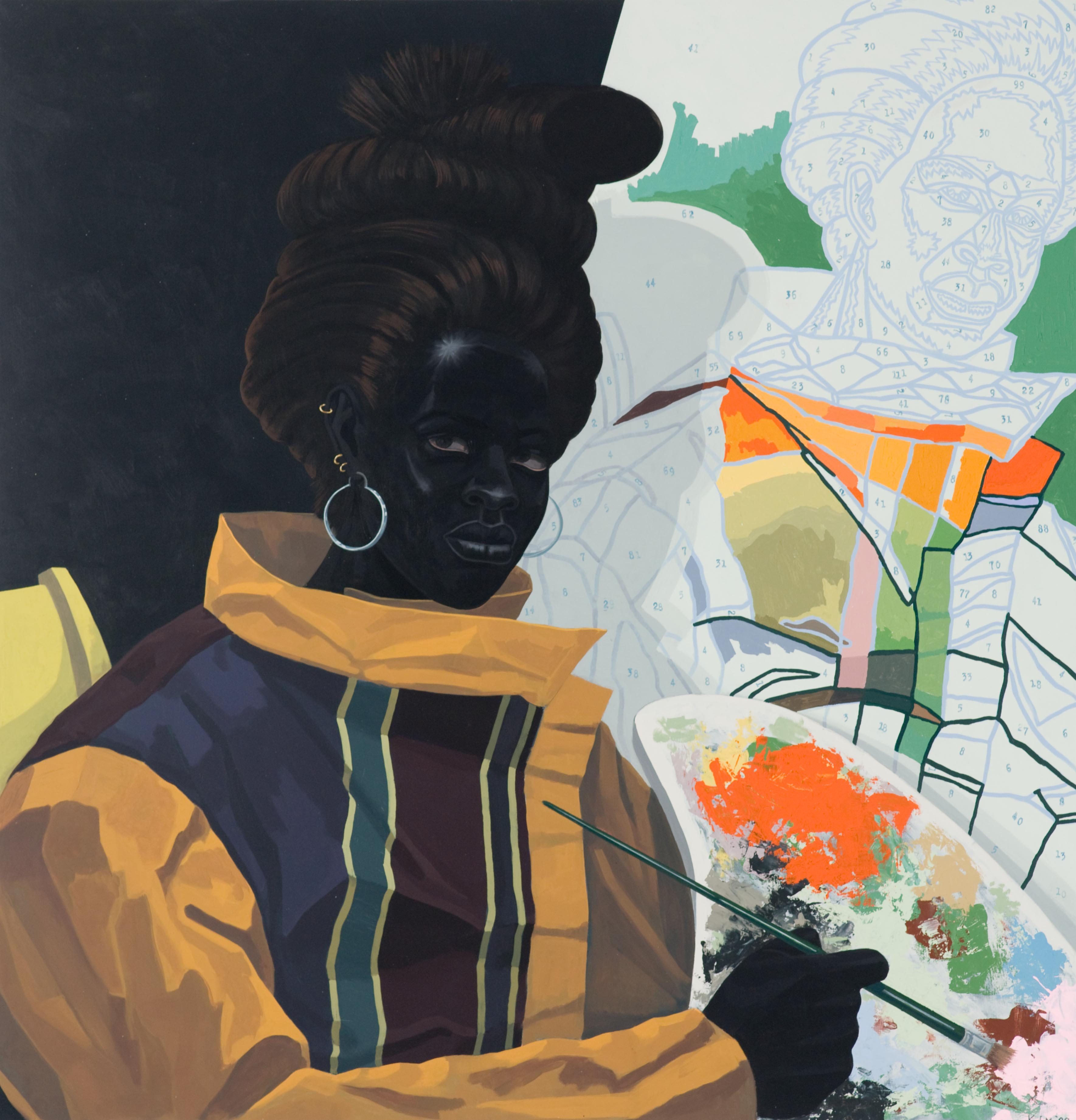 Kerry James Marshall. American, born Birmingham, Alabama 1955. Untitled (Painter) 2009. Acrylic on PVC panel 44 5/8 × 43 1/8 × 3 7/8 in. (113.3 × 109.5 × 9.8 cm). Museum of Contemporary Art Chicago, gift of Katherine S. Schamberg by exchange, 2009.15 © Kerry James Marshall Photo: Nathan Keay, © MCA Chicago.