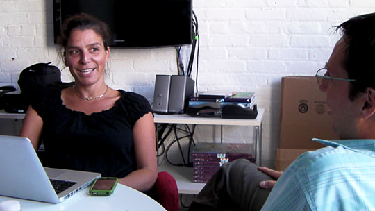 Eve Moros Ortega, managing director, and Nick Ravich, director of production, at the Art21 offices in New York City. Photo by Ian Forster.